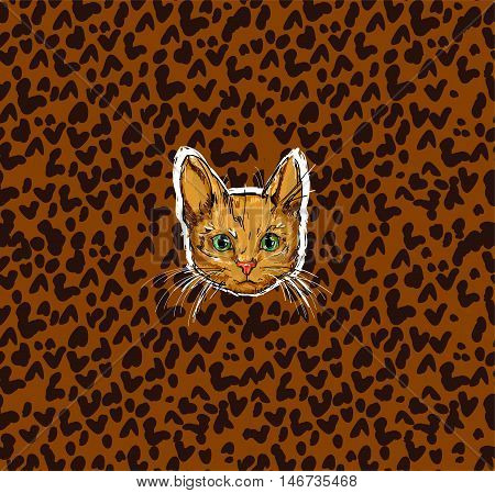 Red-headed cat, cat illustration, vector cat, Cat on leopard print background