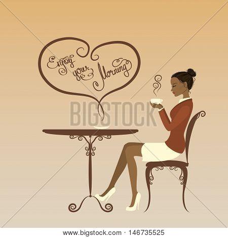 Beautiful girl drinking coffee enjoy your morning vector illustration