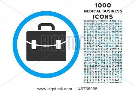 Case rounded vector bicolor icon with 1000 medical business icons. Set style is flat pictograms, blue and gray colors, white background.
