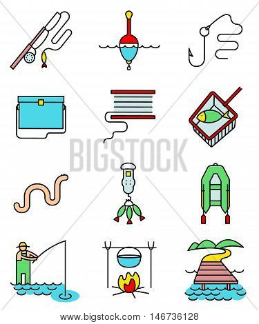 Fishing hobby line art thin and simply colorful icons set. Collection of minimalistic signs with fisherman with rod tacle fish worm landscape with lake and pier net bobbin with reel inflatable boat with oars hook and float illustration