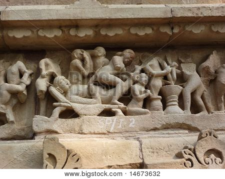 Sculptures Of Loving Couples, Illustrating The Kama Sutra