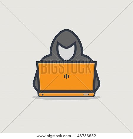 Thick line emblem of hacker person with golden laptop stealing personal information from internet.