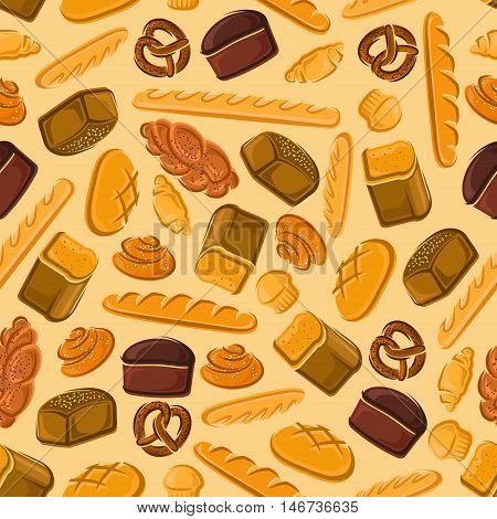 Fresh bread seamless pattern with appetizing baguette, long loaf, rye bread, cupcake, croissant, muffin, cinnamon roll, pretzel and braided bun with poppy seeds. Bakery and pastry shop design