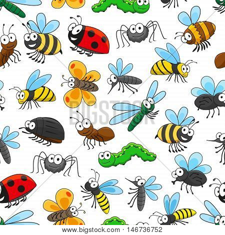 Funny insects seamless pattern background with cartoon bee, butterfly, bug, fly, caterpillar, dragonfly, mosquito, ladybug, wasp, ant spider and bumblebee characters