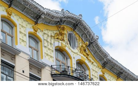 Moscow, Russia - July 14, 2016: The sculptures that adorn the gable of a Victorian house
