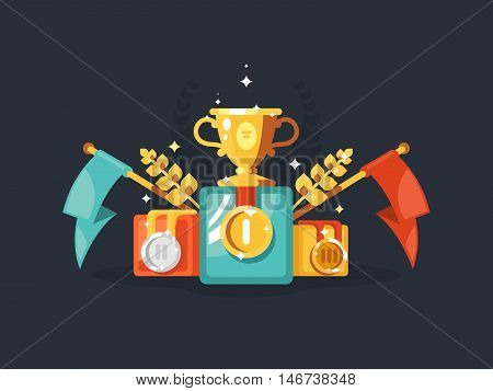 Pedestal design flat with gold cup medals and flags. Vector illustration