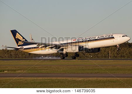 BRISBANE, AUSTRALIA - June 25: Singapore Airlines Airbus A330 aircraft lands at Brisbane Airport, Australia, on Saturday 25th June, 2016.