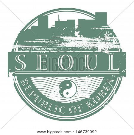 Grunge rubber stamp with the name of Seoul, South Korea written inside the stamp, vector illustration