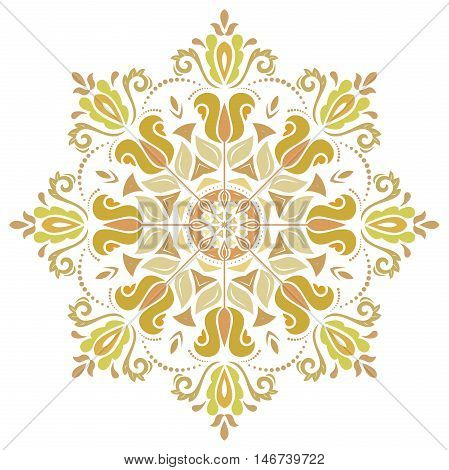 Oriental pattern with arabesques and floral elements. Traditional classic ornament. Colored round pattern