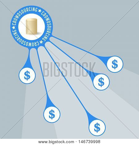 Vector object with theme of crowd funding and dollar symbol