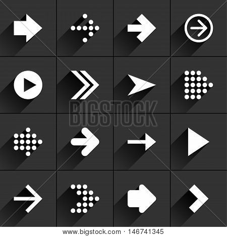 16 arrow flat icon with black long shadow. White sign on dark gray background. Tidy clean simple minimal solid plain style. Vector illustration web internet design element 8 eps