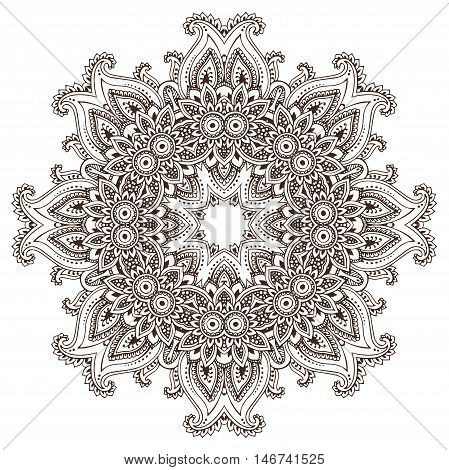 Abstract vector round lace design mandala, decorative element. Mehndi style, traditional oriental ornament. Illustration for print, tattoo