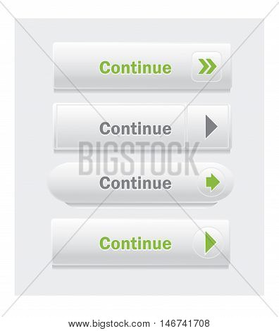 Continue. Set of vector web interface buttons. Shapes and styles variations.
