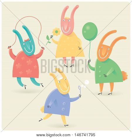 Funny vector rabbits playing with balloon, skipping rope, flower and bubble blower