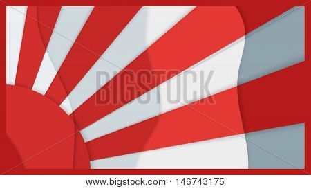 Multilevel background image the red sun with rays on a white background material design