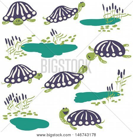 Vector icon set with cute cartoon earthen turtles and reeds with pond.