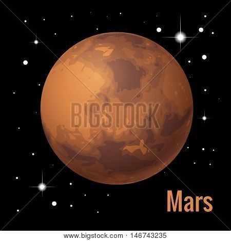 Mars planet 3d vector illustration. High quality isometric solar system planets
