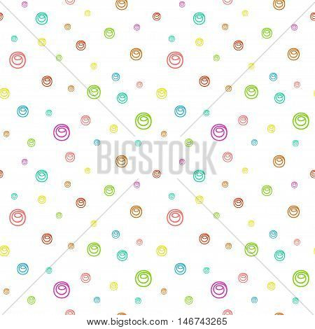 Cute funny seamless background pattern with many repeating multicolored different sized bubbles isolated on the white fond. Vector illustration eps 10