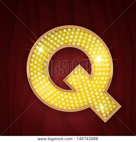 Gold light lamp bulb letter Q. Sparkling glitter shine alphabet for light board. Fashion style glowing shining golden alphabet letter