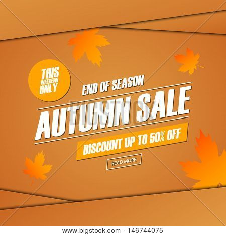 Autumn Sale. This weekend special offer banner, discount up to 50% off. End of season. Vector illustration.
