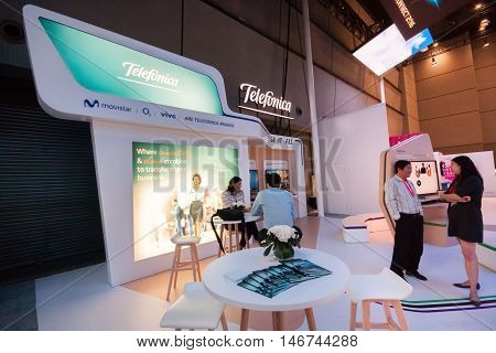 SHANGHAI CHINA - SEPTEMBER 2 2016: Booth of Telefonica company at Connect 2016 information technology conference and exhibition in Shanghai China on September 2 2016.