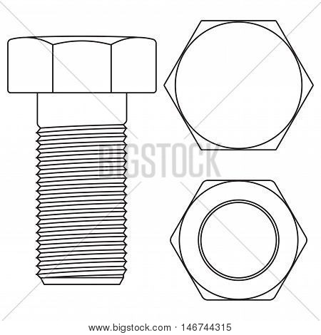 Screw bolt. Vector illustration on white background