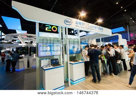 SHANGHAI CHINA - SEPTEMBER 2 2016: Booth of Intel company at Connect 2016 information technology conference and exhibition in Shanghai China on September 2 2016.
