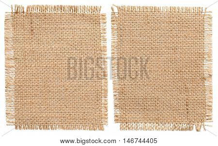 Burlap Sacking Cloth Pieces Rustic Linen Bagging Fabric Sack Patch Isolated over White