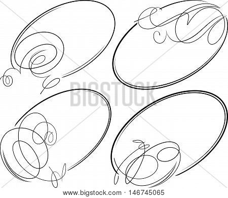 Beautiful set of 4 decorative oval vector frames.