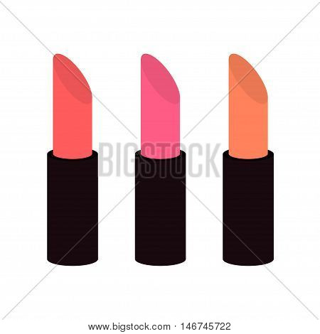 Pink nude lipstick set on white background Isolated Template Flat design Vector illustration