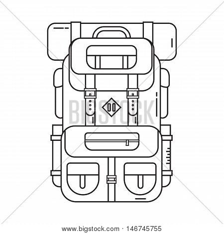 Large hiking backpack in thin line design. Tourist rucksack with sleeping bag. Camping backpack outline vector illustration. Hiking bag icon.