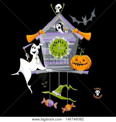 Cuckoo clock with ghost pumpkin and skull. Halloween style. Vector illustration.
