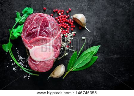 Uncooked beef shank set for cooking, view from above