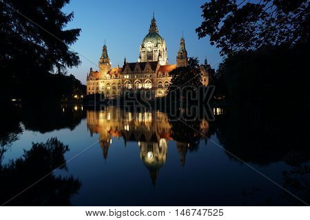 New Town Hall or New City Hall in Hannover, Germany, illuminated at night