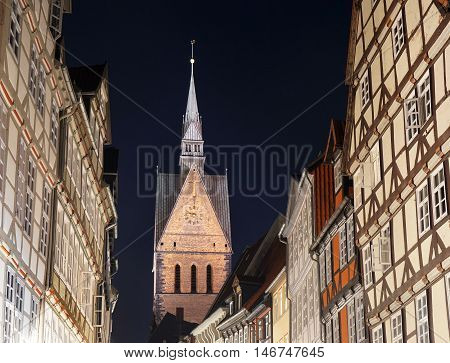 old town with market church and half-timbered houses in Hannover Germany