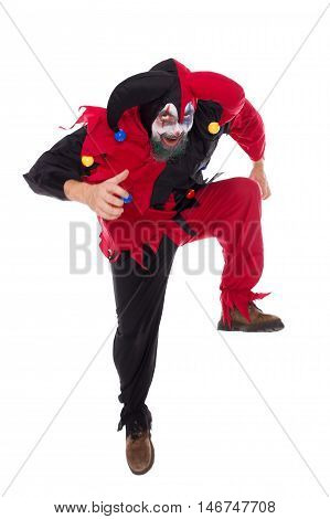 Evil Dancing Clown, Isolated On White, Concept Halloween And Carnival