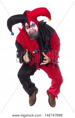 Evil Jumping Jester, Isolated On White, Concept Horror And Halloween