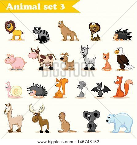 Set of cute vector  cartoon wild and domestic animals