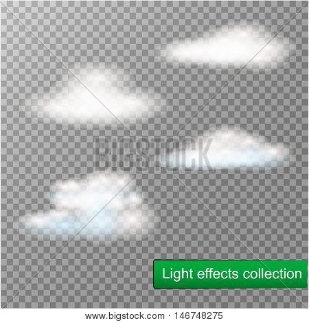 Fog or smoke isolated transparent special effect. White vector cloudiness, mist or smog background. Vector illustration.