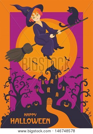 Halloween greeting card with the image of the little witch and fairytale castle