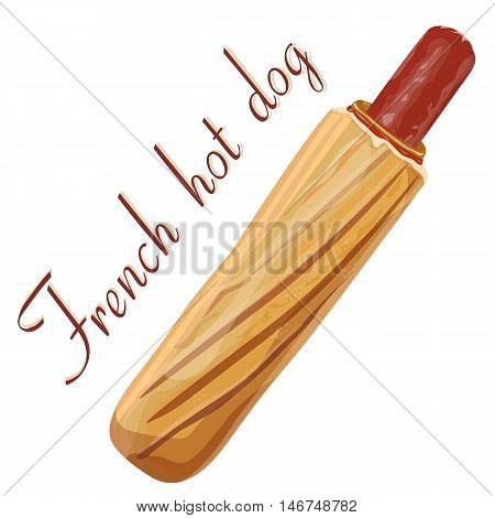 Hot dog: meat sausage banger or frankfurter mustard mayonnaise ketchup fresh French baguette grilled bun. Vector square close-up sign side view illustration fast food isolated on white background