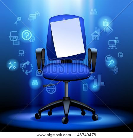 Business chair with notice paper and internet icons illuminated on dark blue background. 3D illustration