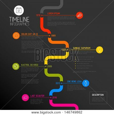Vector Infographic timeline report template with the biggest milestones, icons, years and color buttons - dark vertical time line version