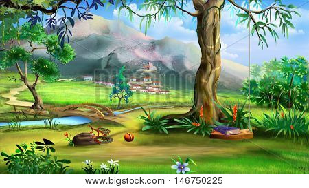 Fairy Tale Background with Swings and Small Bridge Over the River. Digital Painting Illustration in cartoon style character.