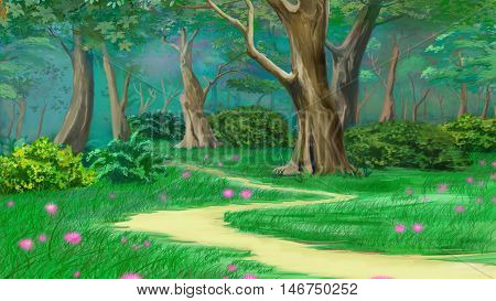 Footpath in a Fairy Tale Summer Forest. Digital Painting Background Illustration in cartoon style character.
