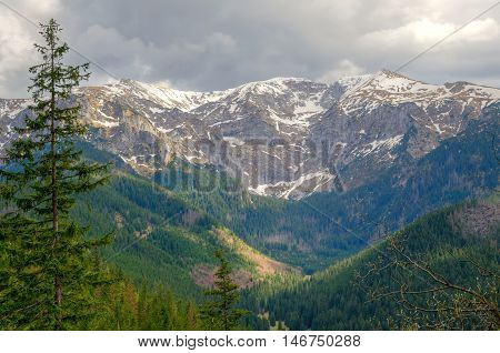Spring mountian landscape. Beautiful valley and mountain peaks in Western Tatra Poland.
