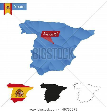 Spain Blue Low Poly Map With Capital Madrid.