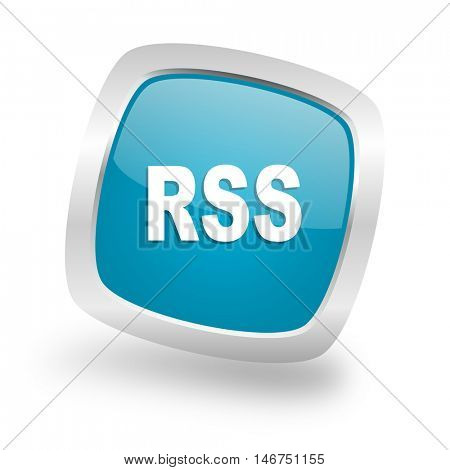 rss square glossy chrome silver metallic web icon