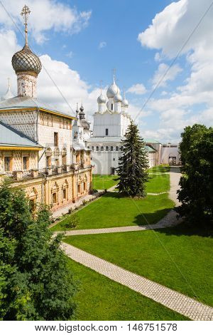 Ancient temples of Rostov Kremlin. Ancient town of Rostov Great is a tourist center of the Golden Ring of Russia in included in the World Heritage list of UNESCO.