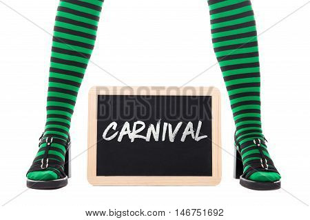 Legs From A Green Witch Or Goblin Girl, Slate With Word Carnival